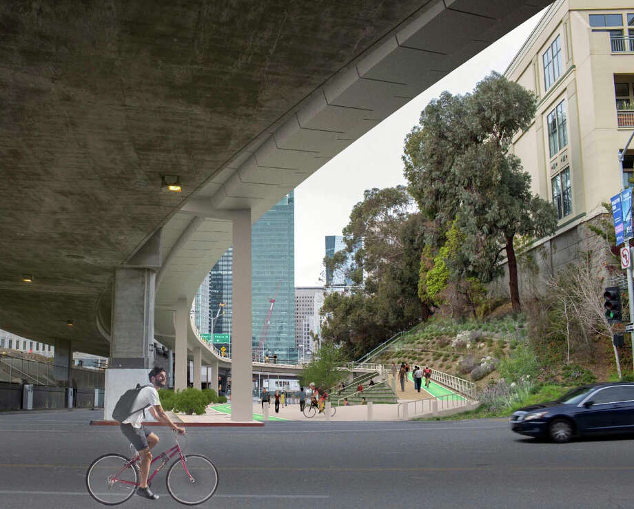 Another design envisions the path coming down the Fremont Street exit of the bridge, landing on Essex Street and then turning onto Harrison Street. Photo: Handout / Arup Group / Arup Group