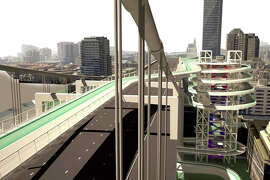 A rendering shows a bike path suspended over the Bay Bridge roadway connecting to a series of loops descending to the waterfront.