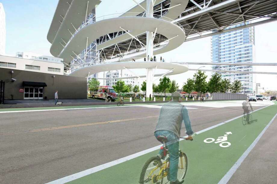 An artist's conception shows one alternative for the bike and pedestrian path touchdown from the Bay Bridge to the city. Photo: Arup Group / Arup Group