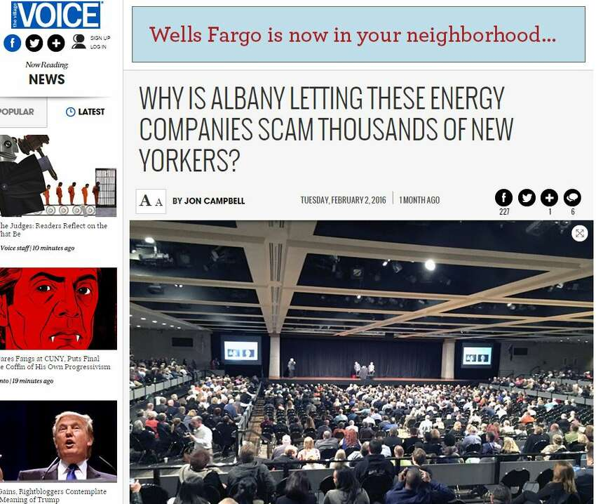 The Feb. 2, 2016 Village Voice article by Jon Campbell that the energy service companies say started Gov. Andrew Cuomo's crusade against them.