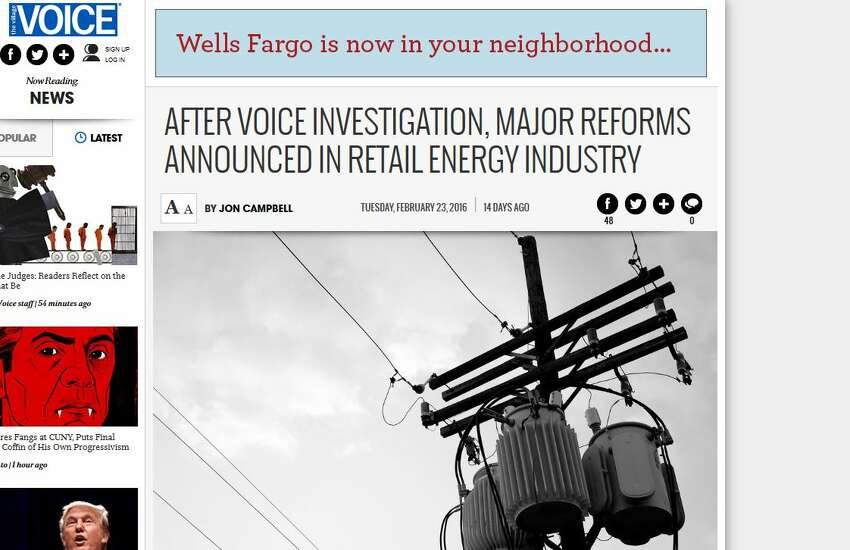 The Village Voice's Jon Campbell wrote this piece on Feb. 23, the day that Cuomo issued stringent new regulations against the energy service companies.