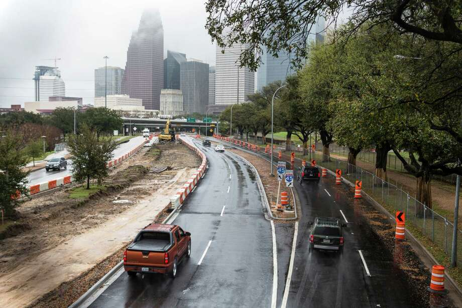 Allen ParkwayKey road that leads to downtown HoustonNamed after John Kirby Allen and Augustus Chapman Allen — the two men who founded Houston on August 30, 1836. Photo: Brett Coomer, Staff / © 2016 Houston Chronicle