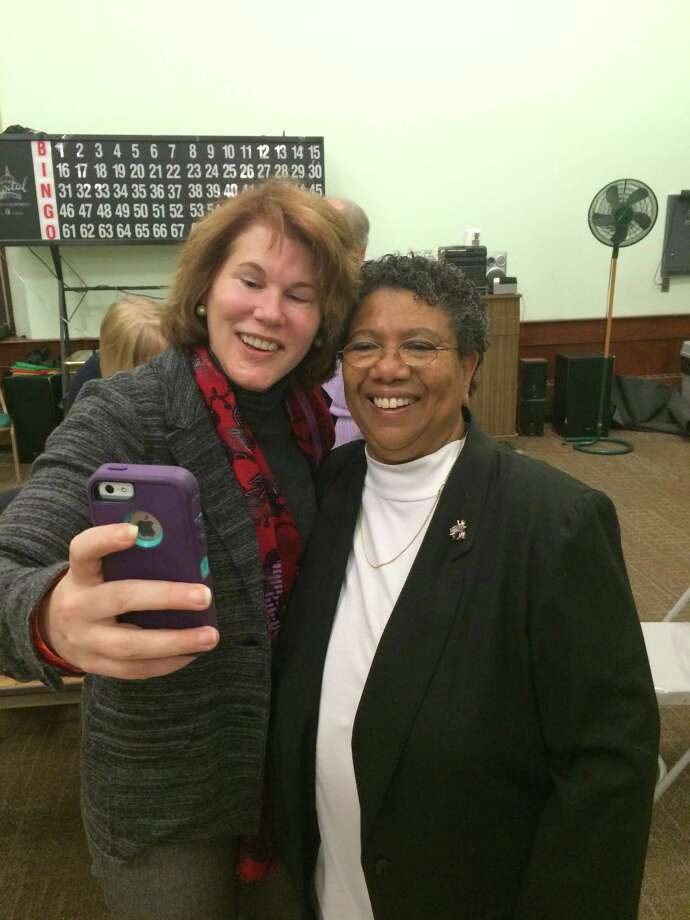 Former Stratford Town Councilwoman Stephanie Philips, right, posed for a celebratory selfie with DTC member Mary Young Monday night. A few minutes earlier, Philips was chosen as the DTC's new chairwoman. Photo: Connecticut Post / John Burgeson