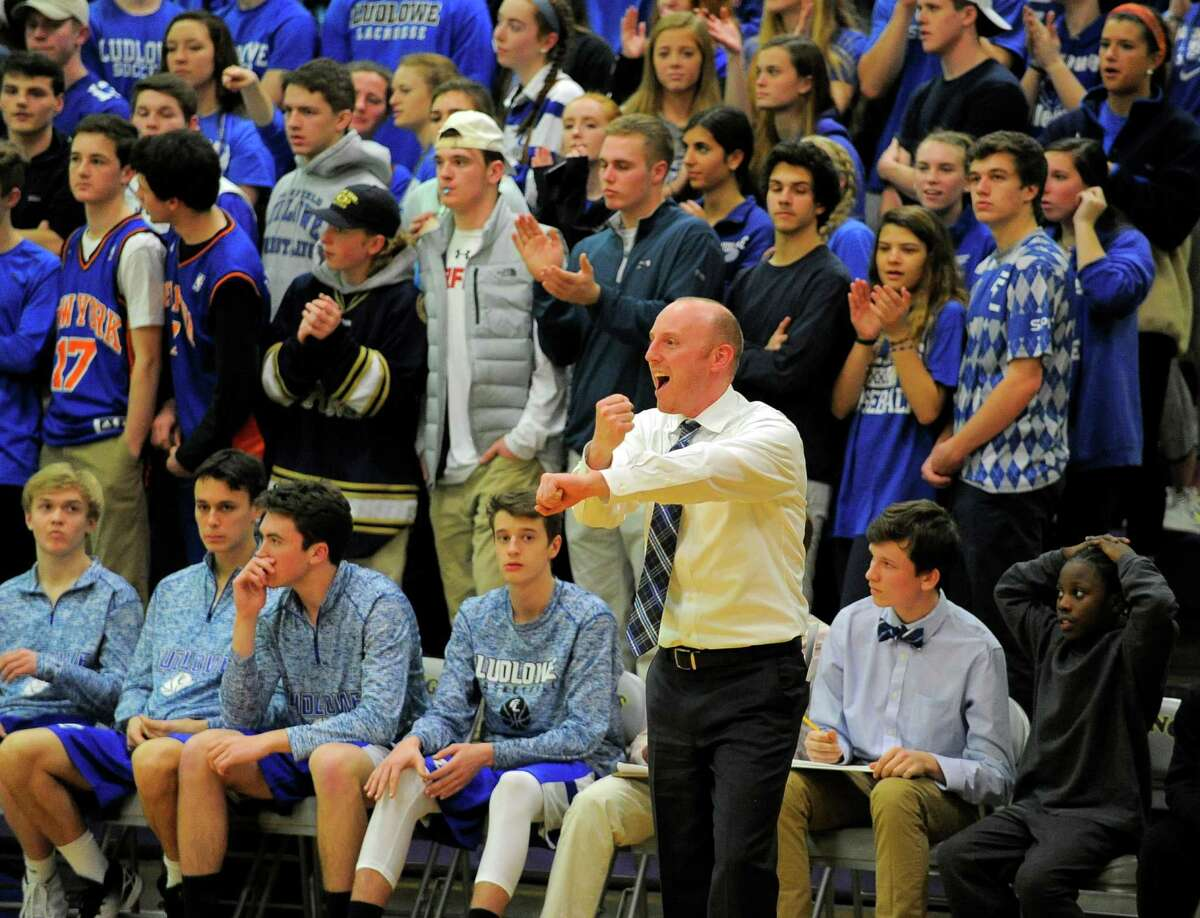 Ludlowe coach John Dailey reacts to a call in the first round of a CIAC Class LL boys basketball championships against Westhill at Westhill High School in Stamford, Conn. on March 8, 2016. Westhill defeated Ludlowe 56-46, advancing to play Fairfield Prep on Thursday.