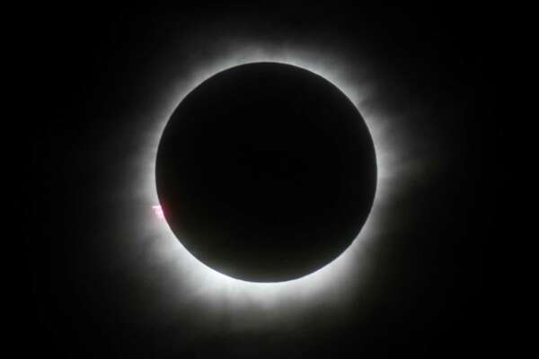 The eclipse is seen in Belitung, Indonesia.
