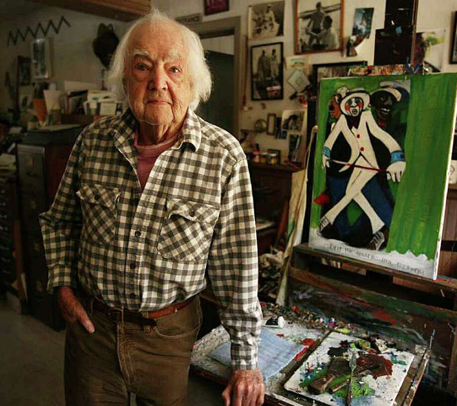 "Howard Munce, then 95 years old, with his oil painting, ""Bucolic Still Life,"" at his home studio in 2011. Photo: Westport News / File Photo / Westport News"
