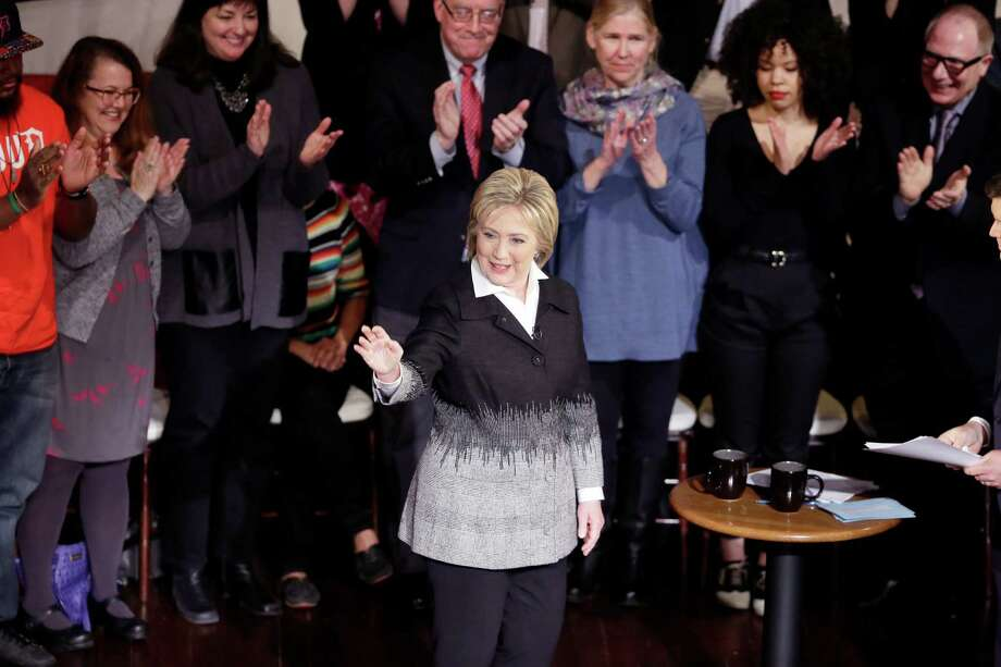 In this March 7, 2016, file photo, Democratic presidential candidate, Hillary Clinton responds to a question during the FOX News town hall at the Gem Theatre in Detroit. A Quinnipiac University released Wednesday. March 9, 2016 gives Clinton a 2-1 lead over Bernie Sanders in Florida and a 9-point lead in Ohio. Photo: Carlos Osorio / AP / AP