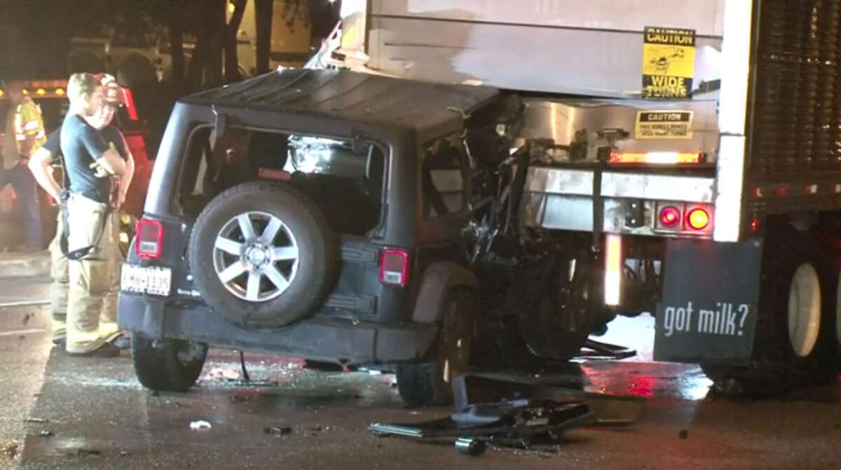 A woman was critically injured early Wednesday morning in a traffic crash when she slammed into the rear of a slow-moving big rig in west Houston.
