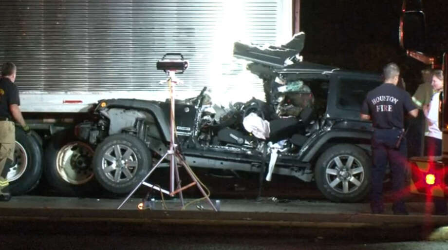 A woman was critically injured early Wednesday morning in a traffic crash when she slammed into the rear of a slow-moving big rig in west Houston. Photo: Metro Video Screen Shot