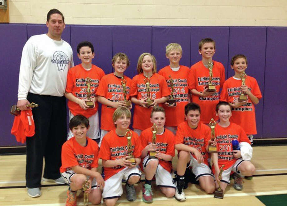 The Westport PAL 5th grade boys basketball team finished off a perfect season with the Fairfield County Basketball League title. Top row left: Coach Drew Carothers, Henry Levin. Jack Watkins, Will Holleman, Cameron Lyons, Chris Zajac, Gavin Rothenberg. Bottom row: Noah Ambrifi. Cody Sale, Gavin Murphy, Charlie Honig. Ty Levine. Photo: / Contributed Photo / Westport News Contributed