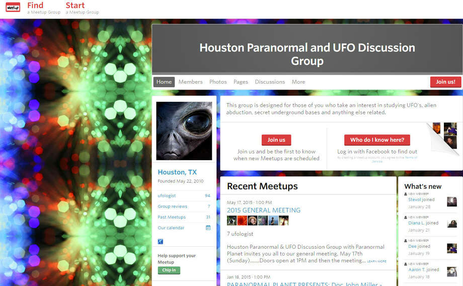 "Paranormal and UFO Discussion Group""This group is designed for those of you who take an interest in studying UFO's, alien abduction, secret underground bases and anything else related."" Photo: Meetup Houston"