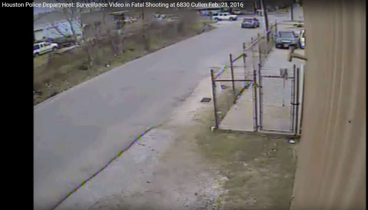 Houston Police Department homicide investigators on Wednesday released surveillance video from the scene of a fatal drive-by shooting last month.