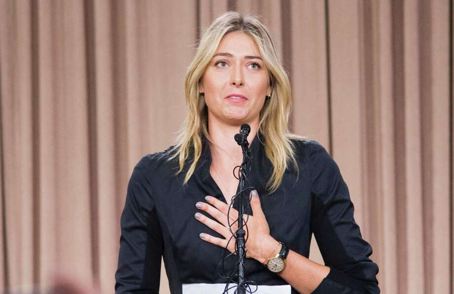 TOPSHOT - Russian tennis player Maria Sharapova speaks at a press conference in downtown Los Angeles, California, March 7, 2016. The former world number one announced she failed a doping test at the Australian Open, saying a change in the World-Anti-Doping Agency banned list led to the violation. Sharapova said she tested positive for Meldonium, a substance she had been taking since 2006 but one that was added to the banned list this year. / AFP / ROBYN BECKROBYN BECK/AFP/Getty Images Photo: ROBYN BECK, Stringer / AFP or licensors