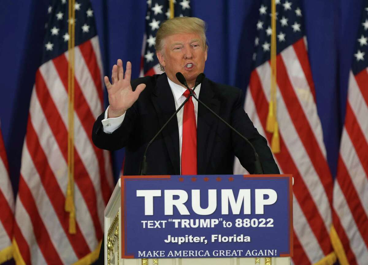 Republican presidential candidate Donald Trump at a news conference at the Trump National Golf Club, Tuesday, March 8, 2016, in Jupiter, Fla.