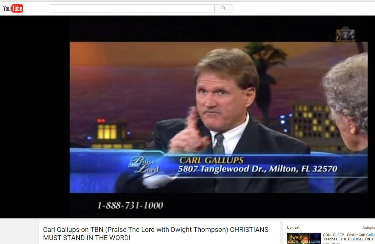 A YouTube video screen image of Rev. Carl Gallups. Donald Trump is distancing himself from a Florida televangelist who claims that the Sandy Hook Elementary school shooting was a hoax.