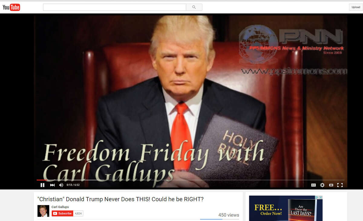 A YouTube video screen image of Donald Trump from a video posted by Rev. Carl Gallups.Trump is distancing himself from a Florida televangelist who claims that the Sandy Hook Elementary school shooting was a hoax.