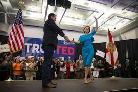 Sen. Ted Cruz of Texas, a Republican presidential hopeful, and Carly Fiorina during a campaign event for Cruz at Miami Dade College in Miami, March 9, 2016. Fiorina endorsed Cruz  Wednesday, supplying his campaign with a high-profile supporter and an eager critic of Donald Trump. (Eric Thayer/The New York Times)