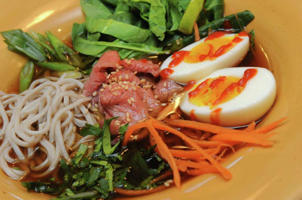 Ramen with flank steak and vegetables on Thursday March 2, 2016 in Delmar, N.Y. (Michael P. Farrell/Times Union)