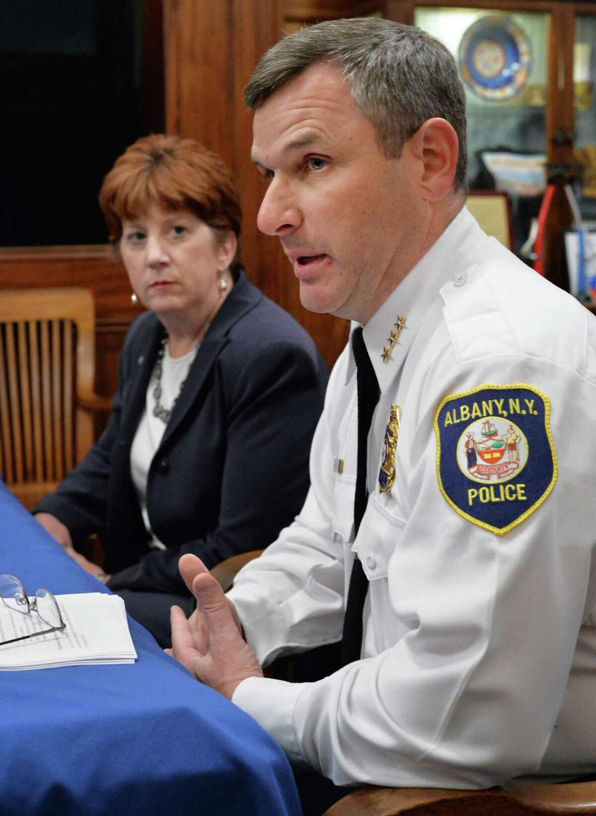 Mayor Kathy Sheehan, left, and Albany Police Department Chief of Police Brendan Cox answer reporters questions about the decision by the Albany County Grand Jury on the case of Donald Ivy during a news conference at City Hall Wednesday Oct. 28, 2015 in Albany, NY. (John Carl D'Annibale / Times Union) ORG XMIT: MER2015102815533813