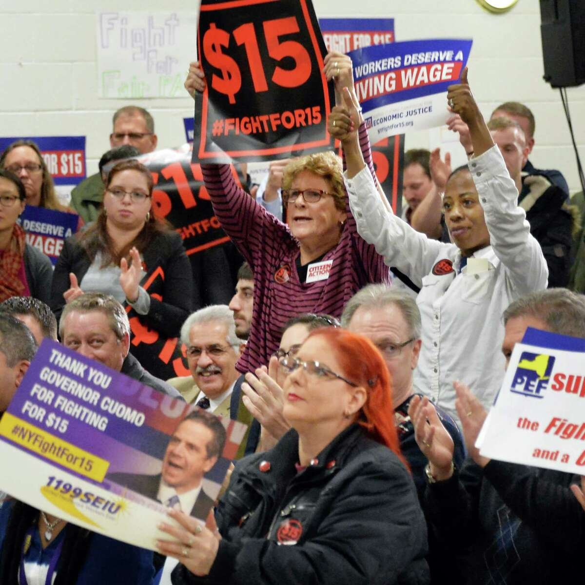 Supporters cheer Governor Andrew Cuomo speaking during a Drive for $15 rally at the Albany Labor Temple Thursday Feb. 25, 2016 in Albany, NY. (John Carl D'Annibale / Times Union)