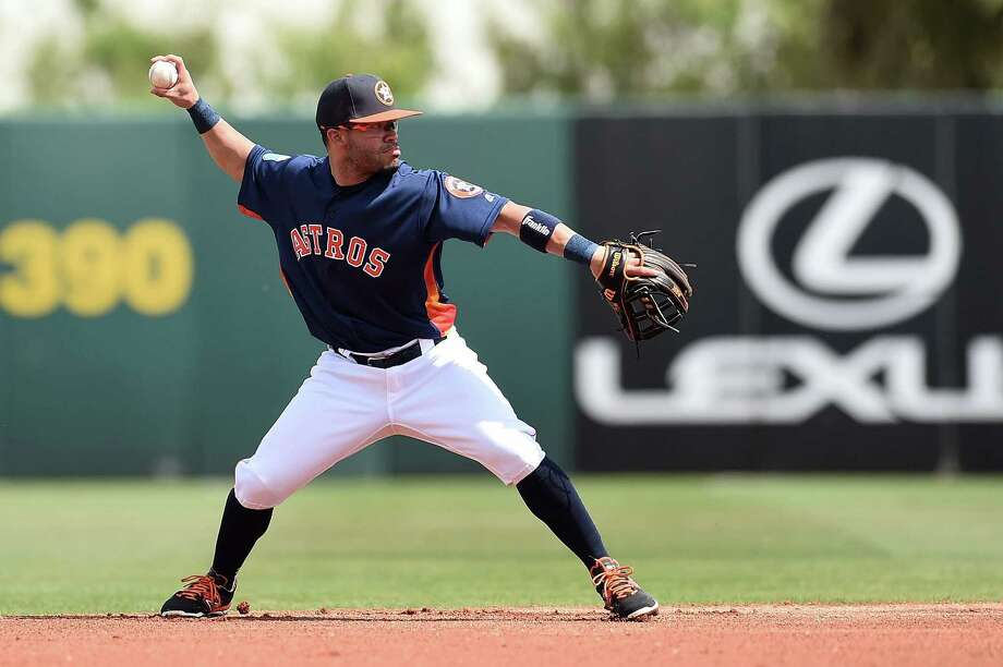 KISSIMMEE, FL - MARCH 09:  Jose Altuve #27 of the Houston Astros makes a throw to first base during the first inning of a spring training game against the Atlanta Braves at Osceola County Stadium on March 9, 2016 in Kissimmee, Florida. Photo: Stacy Revere, Getty Images / 2016 Getty Images