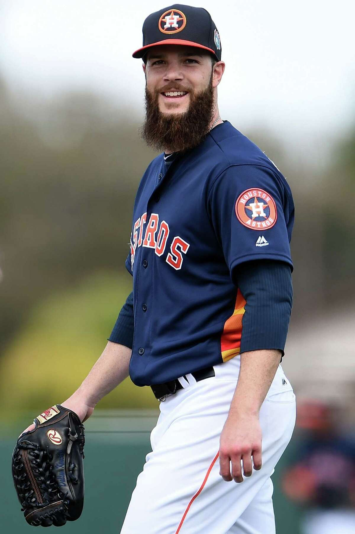 KISSIMMEE, FL - MARCH 09: Dallas Keuchel #60 of the Houston Astros walks to the dugout during the second inning of a spring training game against the Atlanta Braves at Osceola County Stadium on March 9, 2016 in Kissimmee, Florida.