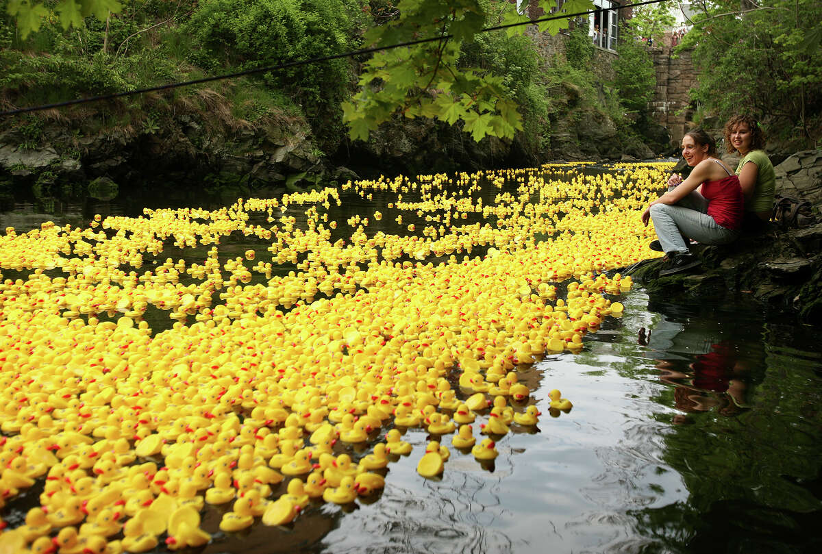Sisters Lauren Rendero, left of Milford, and Kristin Rendero of Bethany watch from the shore of the Wepawaug River in Milford as thousands of plastic ducks float by during the annual Milford Harbor Duck Race on Sunday, May 2, 2010. The event, which was to be a fundraiser for the St. Gabriel School this year, was canceled because the school is set to close soon.