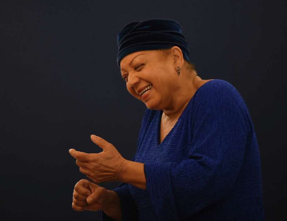 """Shirley Childress of the performance ensemble """"Sweet Honey in the Rock,"""" which uses a cappella singing and American Sign Language for the deaf and hearing impaired, answers questions at the Tobin Center on Wednesday, March 2, 2016. Photo: Billy Calzada, Staff / San Antonio Express-News / San Antonio Express-News"""