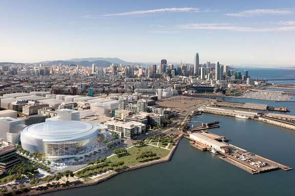 Rendering released on Dec. 10, 2014 showing a southwest aerial view of the Golden State Warriors' proposed new arena in San Francisco's Mission Bay area. The arena would seat 18,000 people, have a view deck, and include a 24,000 square foot public plaza on the southeast side and a 35,000 square foot public plaza on the Third Street side. Completion is slated for the start of the 2018-19 NBA season.