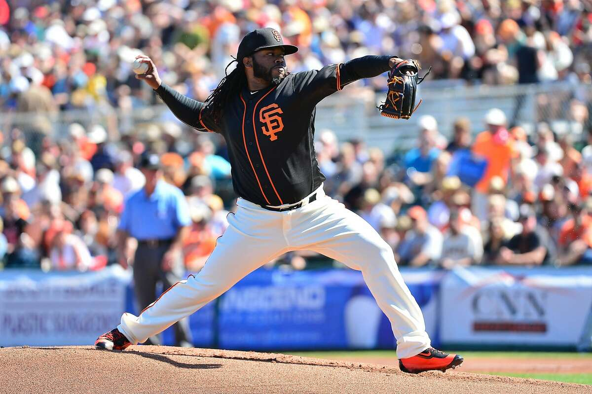 SCOTTSDALE, AZ - MARCH 09: Starting pitcher Johnny Cueto #47 of the San Francisco Giants delivers a pitch in the first inning against the Colorado Rockies during the spring training game at Scottsdale Stadium on March 9, 2016 in Scottsdale, Arizona. (Photo by Jennifer Stewart/Getty Images)
