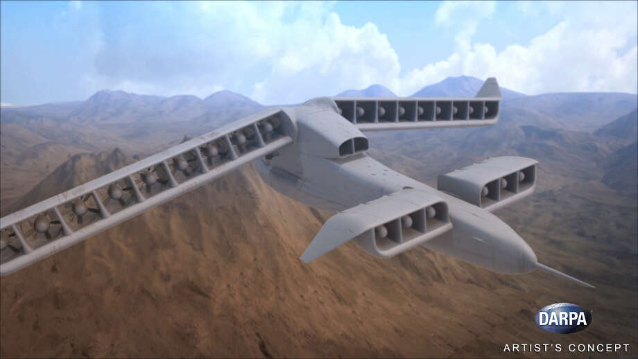 DARPA's Vertical Takeoff and Landing Experimental Plane (VTOL X-Plane) program seeks to provide innovative cross-pollination between fixed-wing and rotary-wing technologies and develop and integrate novel subsystems to enable radical improvements in vertical and cruising flight capabilities.  Photo: File/Defense Advanced Research Projects Agency