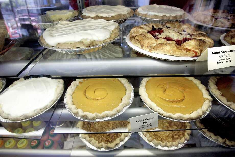 The display case at Mission Pie, on Mission at 25th Street, will be well-stocked for Pi Day on March 14, recognized as an official holiday (but it's unlikely you'll get the day off work). Photo: Katy Raddatz, The Chronicle
