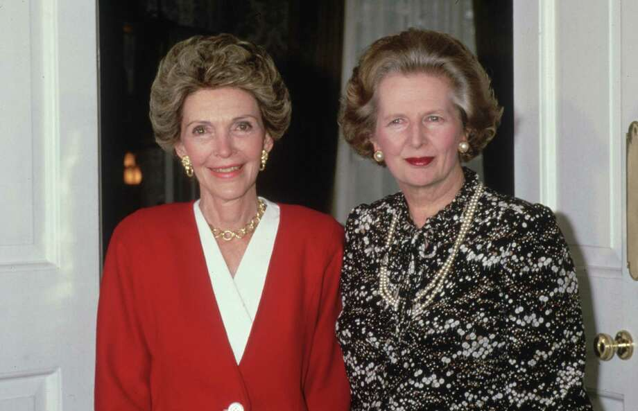 Former first lady Nancy Reagan meets British Prime Minister Margaret Thatcher at Number 10, Downing Street, during a visit to London on July 22, 1986.  (Photo by Hulton Archive/Getty Images) Photo: Hulton Archive, Stringer / Hulton Archive