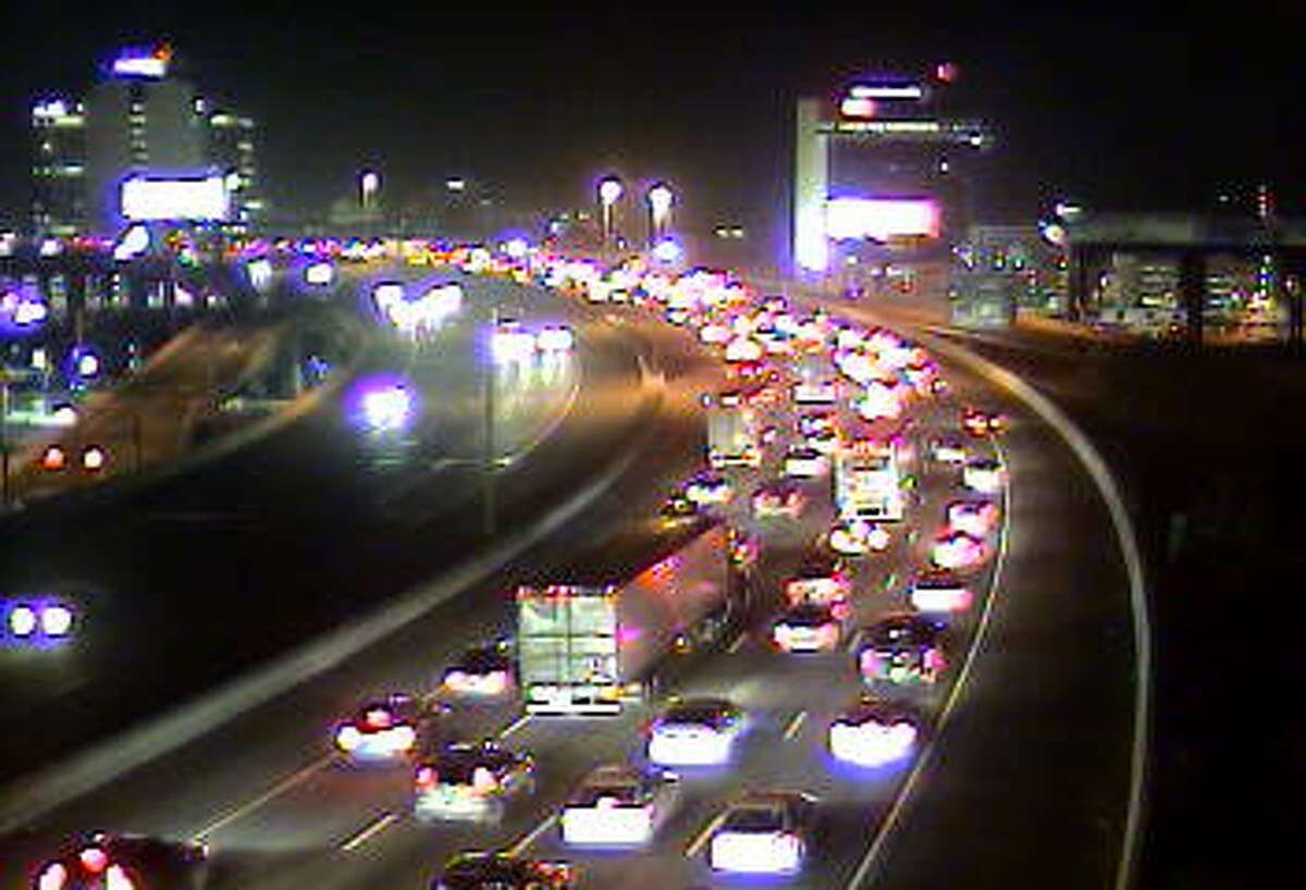 This traffic camera photo shows congestion around a multiple-car collisions that shut down two southbound lanes of traffic on Wednesday evening.