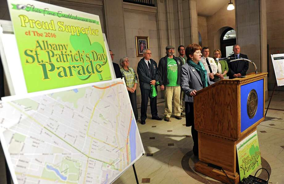 Mayor Kathy Sheehan holds a press conference at City Hall to discuss parade routes and plans for the  St. Patrick's Day on Wednesday, March 9, 2016, in Albany, N.Y. (Lori Van Buren / Times Union) Photo: Lori Van Buren / 10035759A