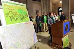 Mayor Kathy Sheehan holds a press conference at City Hall to discuss parade routes and plans for the  St. Patrick's Day on Wednesday, March 9, 2016, in Albany, N.Y. (Lori Van Buren / Times Union)