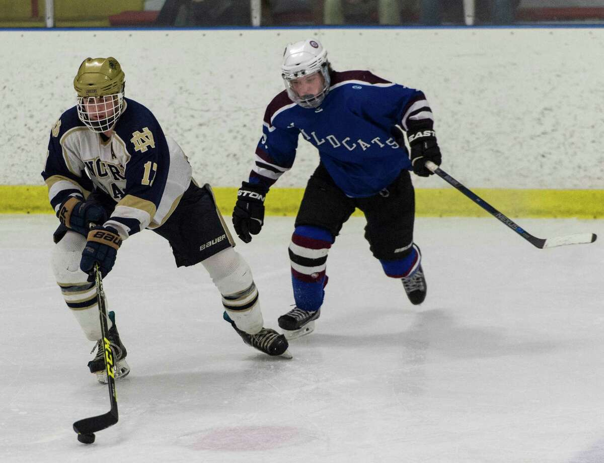Notre Dame-Fairfield against SGWL during a first round game of the CIAC division 1 boys ice hockey tournament played at Milford Ice Pavillion, Milford, CT on Wednesday, March 9, 2016.