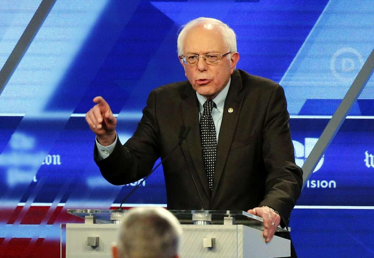 Democratic presidential candidate, Sen. Bernie Sanders, I-Vt, speaks at the Univision, Washington Post Democratic presidential debate at Miami-Dade College, Wednesday, March 9, 2016, in Miami, Fla. (AP Photo/Wilfredo Lee)