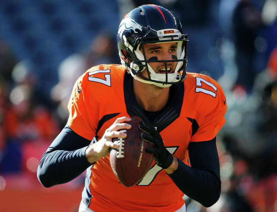 FILe - In this Jan. 3, 2016, file photo, Denver Broncos quarterback Brock Osweiler warms up during the first half in an NFL football game against the San Diego Chargers, in Denver. While the draft often comes down to who is the highest-rated player overall when a team's turn comes _ even when the draftee doesn't necessarily fit a huge need _ the spending spree that begins Wednesday, March 9, 2016,  is a much different marketplace. (AP Photo/Jack Dempsey, File) Photo: Jack Dempsey, FRE / FR42408 AP