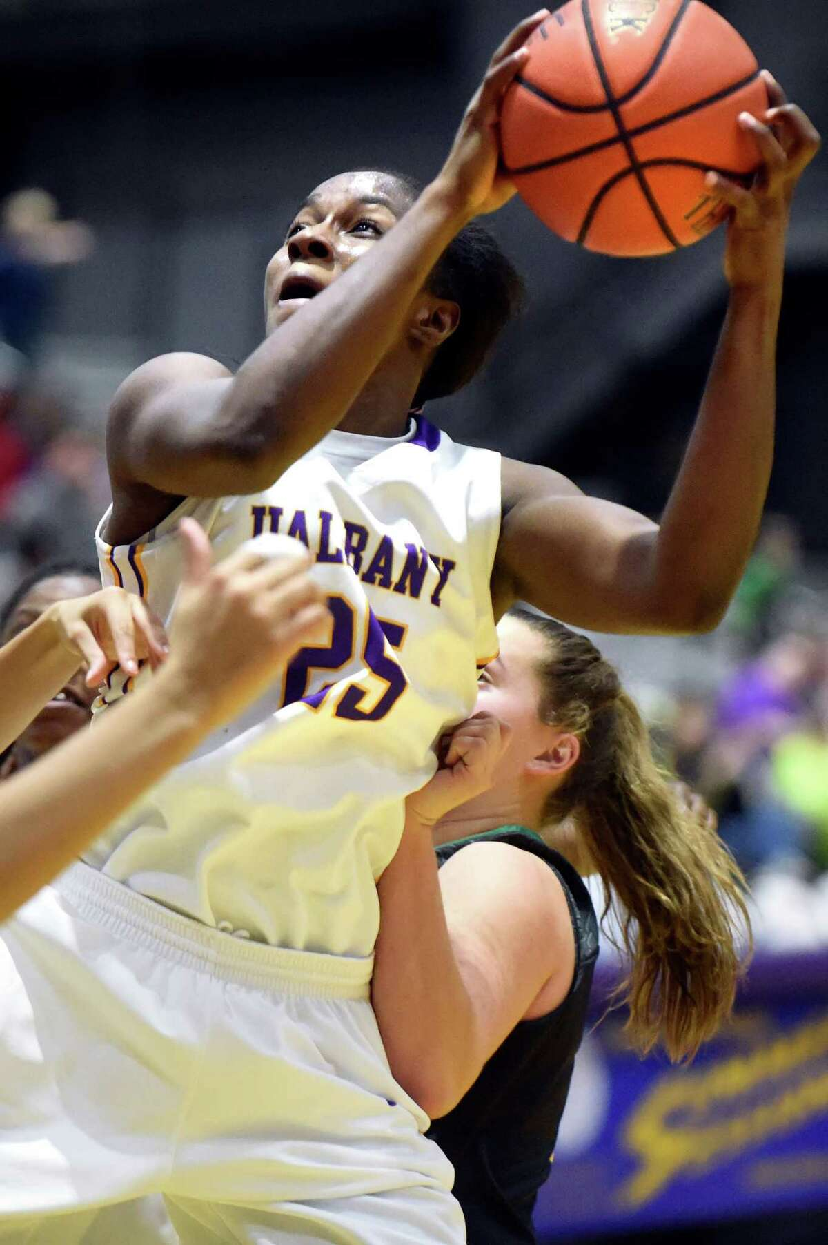 UAlbany's Shereesha Richards looks to the hoop during their basketball game against Vermont on Saturday, Jan. 9, 2016, at SEFCU Arena in Albany, N.Y. (Cindy Schultz / Times Union)