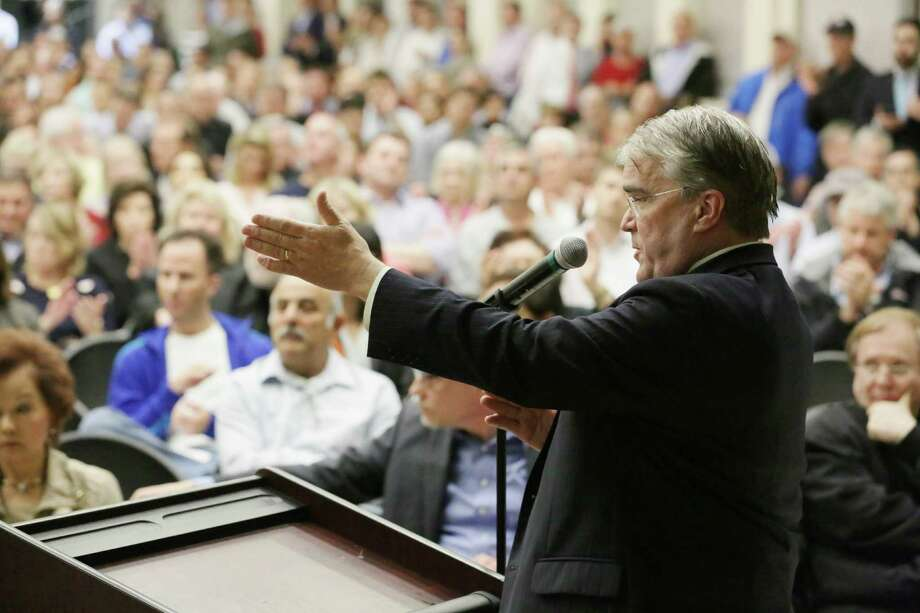 U.S. Rep. John Culberson speaks on March 9 at a Houston Housing Authority meeting about the 2640 Fountain View apartments. Photo: Jon Shapley, Houston Chronicle / © 2015  Houston Chronicle