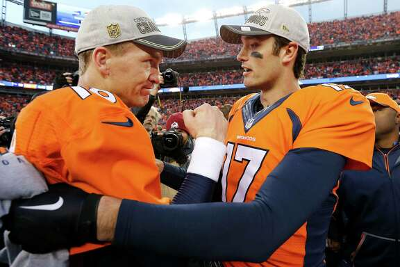 The Broncos are scrambling for a quarterback after losing Peyton Manning, left, to retirement and Brock Osweiler in free agency this week.