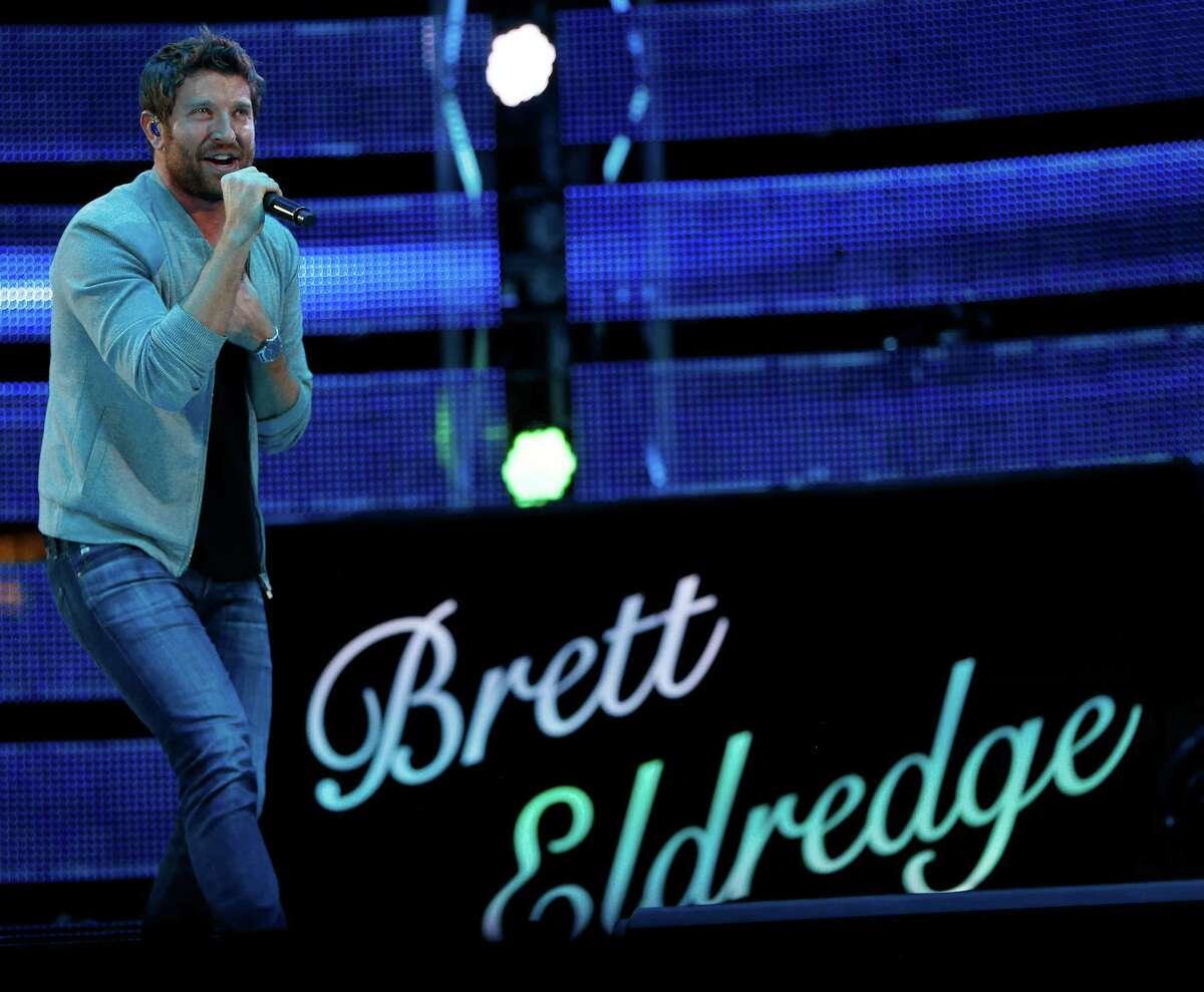 Brett Eldredge performs at RodeoHouston on Wednesday.