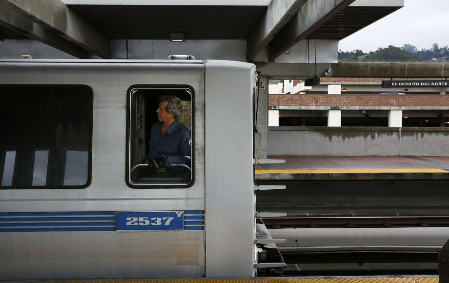 A train conductor looks out his window before pulling out of the El Cerrito del Norte BART station March 9, 2016 in El Cerrito, Calif. Photo: Leah Millis Leah Millis, The Chronicle