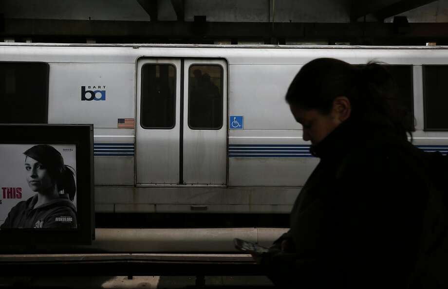 A train pulls into the El Cerrito del Norte BART station March 9, 2016 in El Cerrito, Calif. In a recent study, BART cars were found to be hosting bacteria that can cause skin and ear infections, and pneumonia. Photo: Leah Millis Leah Millis / The Chronicle