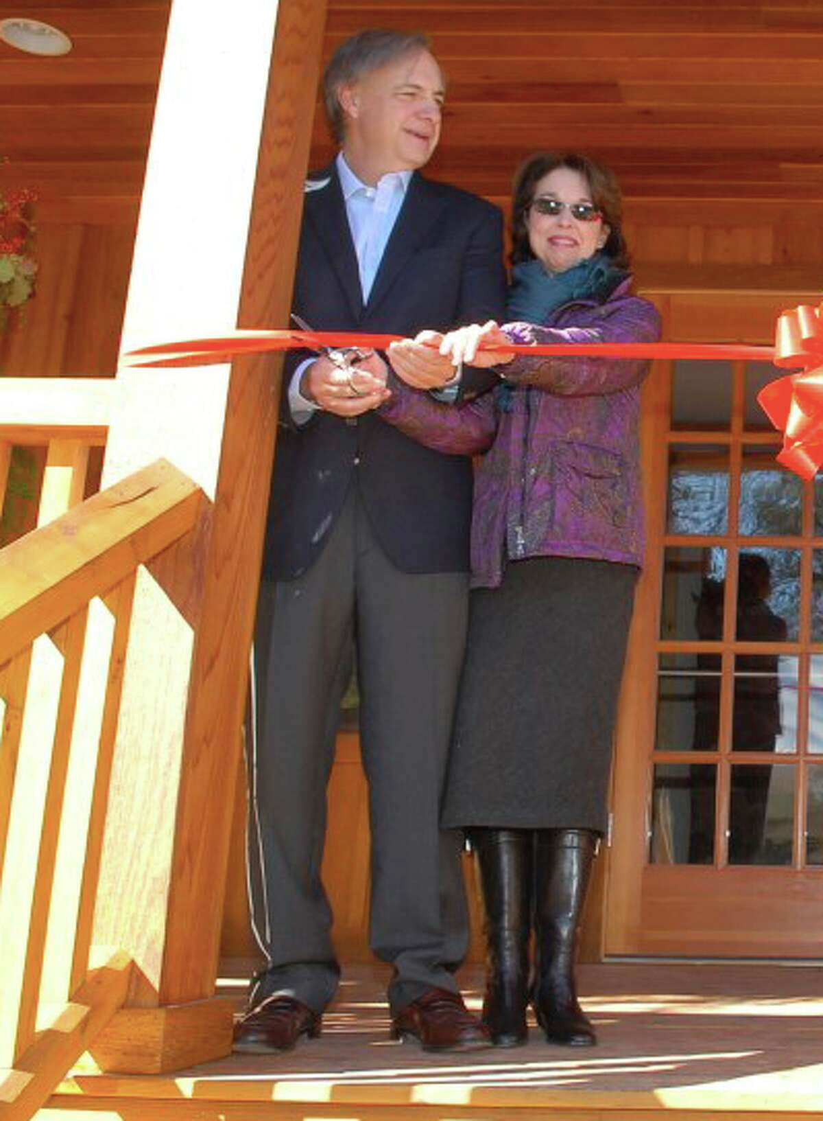 Ray and Barbara Dalio attend the ribbon-cutting for the Bob Neilsen Building at Seton Scout Reservation in Greenwich in 2010.