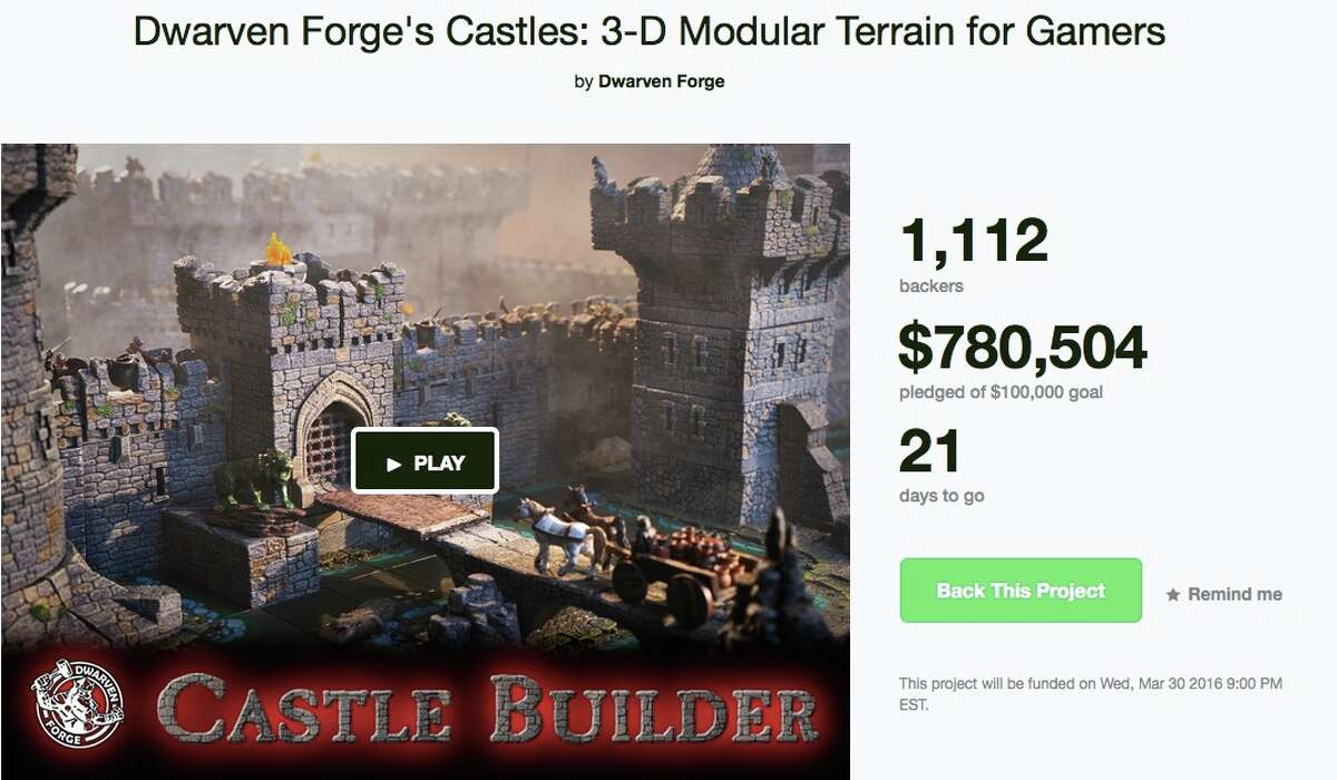 """3D Castle builder Location: WestportFunds sought: $100,000Description: """"Build the ultimate castle! Hand painted walls, towers, ramparts, rocky cliffs -- all modular for the most amazing game every time.""""Read more on kickstarter.com (Screenshot taken on 3/9/16)"""