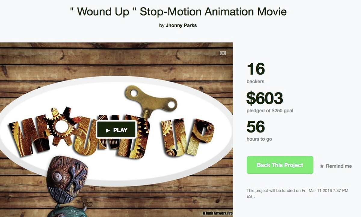 """Stop-motion animation movie Location: BethelFunds sought: $250Description: """"Junk artwork is a group of local artist from the Connecticut are that came together and decided to make a 'stop and go animation' movie named 'Wound UP.'""""Read more on kickstarter.com(Screenshot taken on 3/9/16)"""