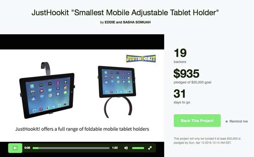 Tablet holder Location: MilfordFunds sought: $20,000Description: Tablet holder you can wear on your thigh.