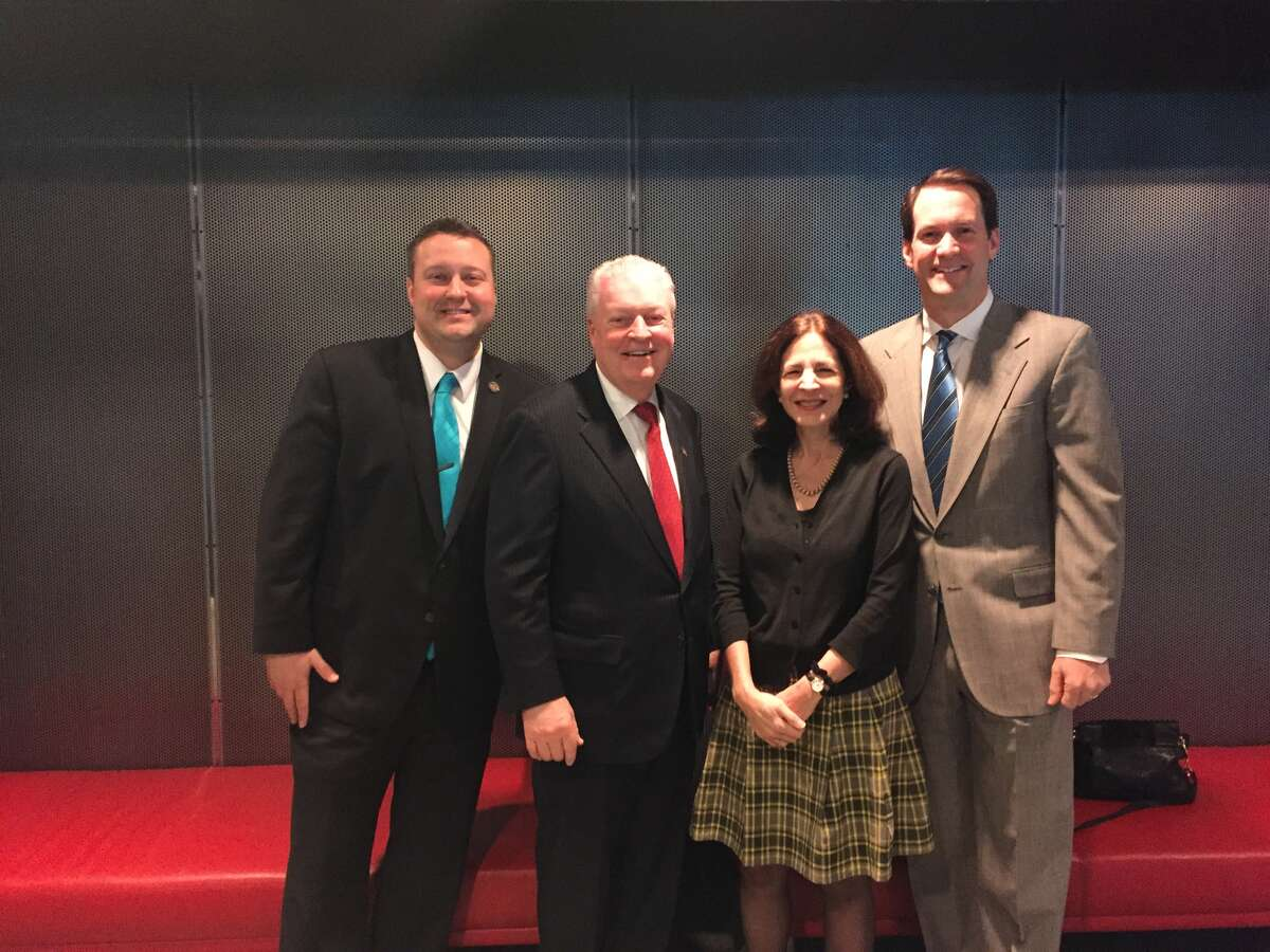 From left: State Rep. J.P. Sredzinski, R-112, Fairfield First Selectman Michael Tetreau, State Rep. Gail Lavielle (R-143) and U.S. Rep Jim Himes (D-4) promote Fairfield County's Giving Day on Thursday, March 10, 2016.